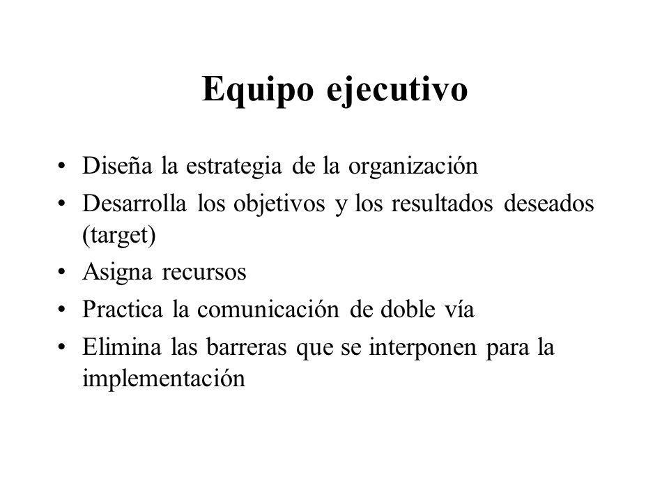 Equipo ejecutivo Diseña la estrategia de la organización Desarrolla los objetivos y los resultados deseados (target) Asigna recursos Practica la comun