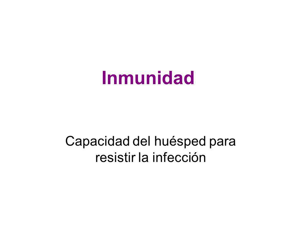 Inmunidad Capacidad del huésped para resistir la infección