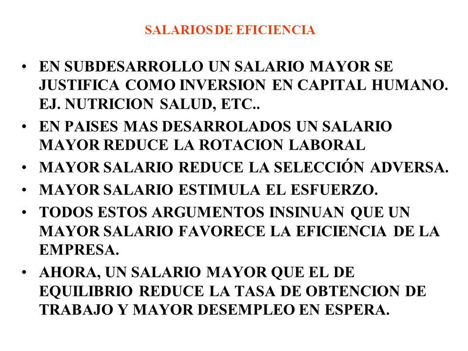 SALARIOS DE EFICIENCIA EN SUBDESARROLLO UN SALARIO MAYOR SE JUSTIFICA COMO INVERSION EN CAPITAL HUMANO. EJ. NUTRICION SALUD, ETC.. EN PAISES MAS DESAR