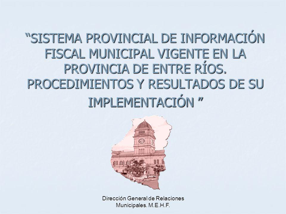 SISTEMAS Sistema de Información sobre Coparticipación a Municipios.