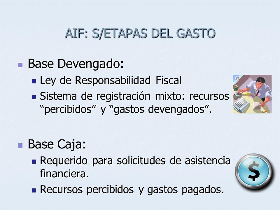 AIF: S/ETAPAS DEL GASTO Base Devengado: Base Devengado: Ley de Responsabilidad Fiscal Ley de Responsabilidad Fiscal Sistema de registración mixto: recursos percibidos y gastos devengados.