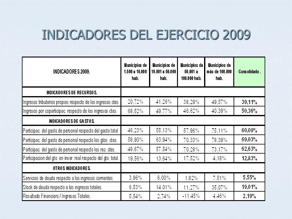 INDICADORES DEL EJERCICIO 2009
