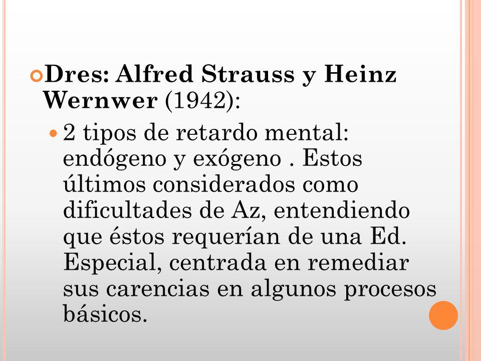 Dres: Alfred Strauss y Heinz Wernwer (1942): 2 tipos de retardo mental: endógeno y exógeno. Estos últimos considerados como dificultades de Az, entend