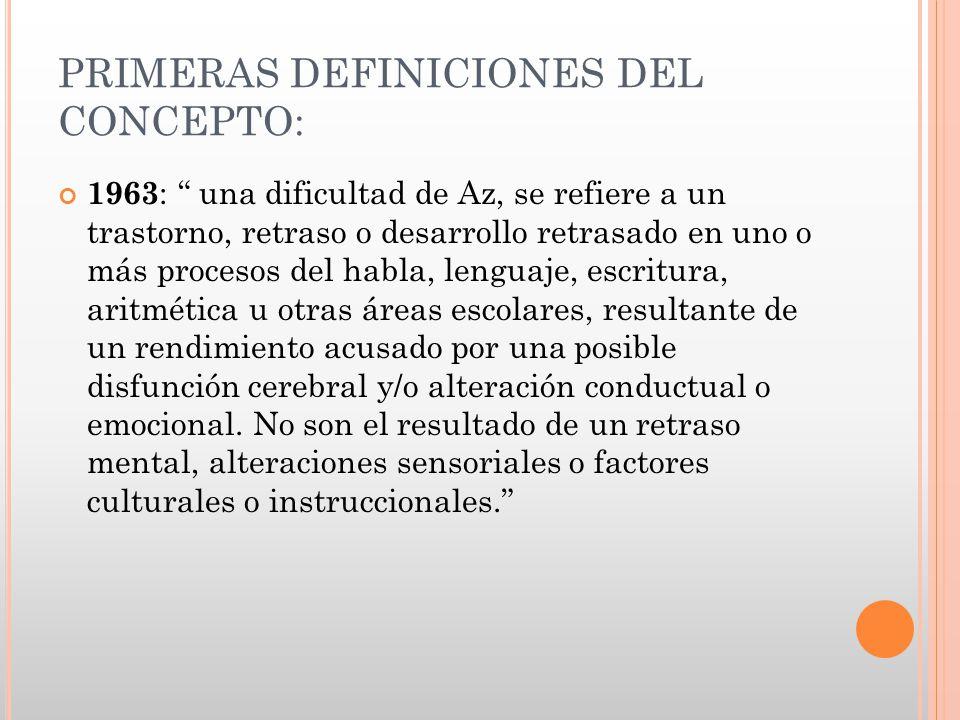 PRIMERAS DEFINICIONES DEL CONCEPTO: 1963 : una dificultad de Az, se refiere a un trastorno, retraso o desarrollo retrasado en uno o más procesos del h