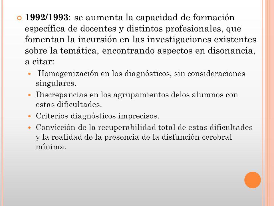 1992/1993 : se aumenta la capacidad de formación específica de docentes y distintos profesionales, que fomentan la incursión en las investigaciones ex