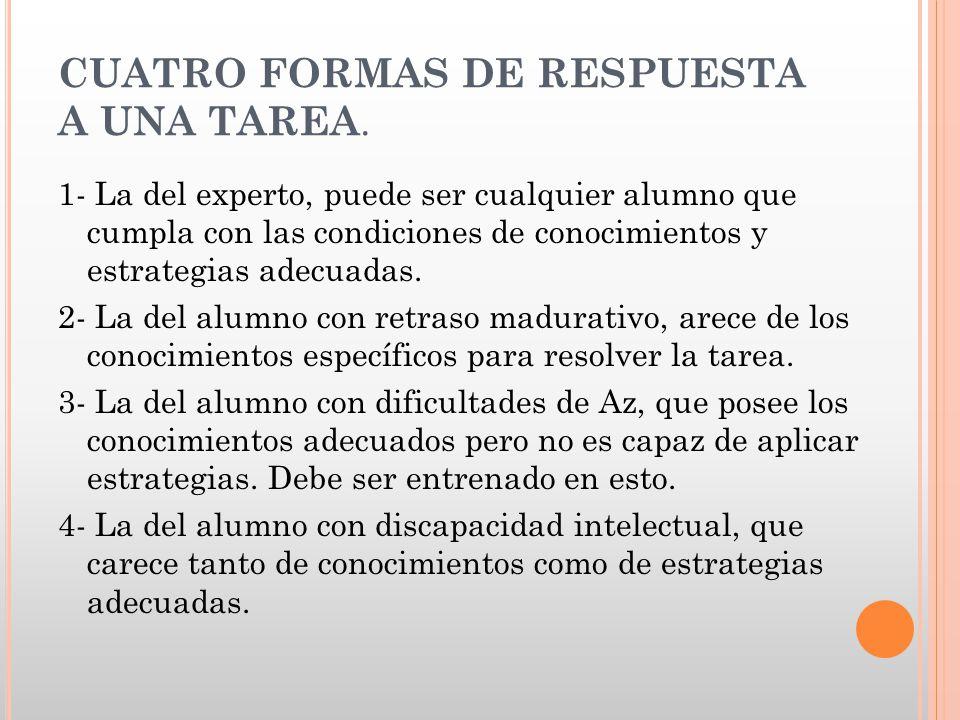 CUATRO FORMAS DE RESPUESTA A UNA TAREA. 1- La del experto, puede ser cualquier alumno que cumpla con las condiciones de conocimientos y estrategias ad