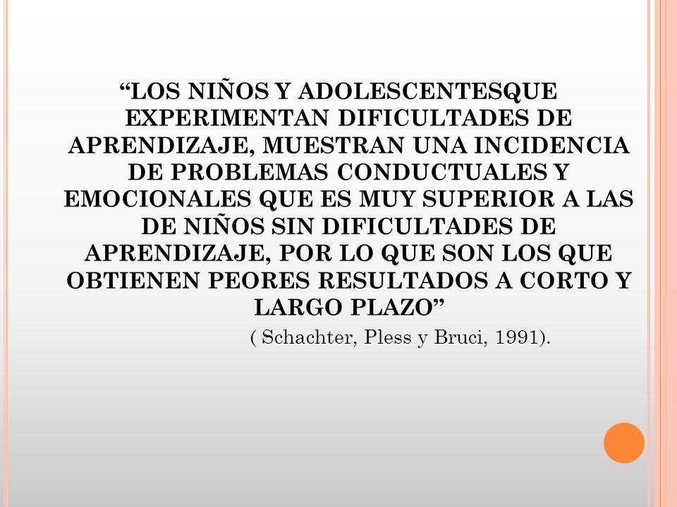 LOS NIÑOS Y ADOLESCENTESQUE EXPERIMENTAN DIFICULTADES DE APRENDIZAJE, MUESTRAN UNA INCIDENCIA DE PROBLEMAS CONDUCTUALES Y EMOCIONALES QUE ES MUY SUPER