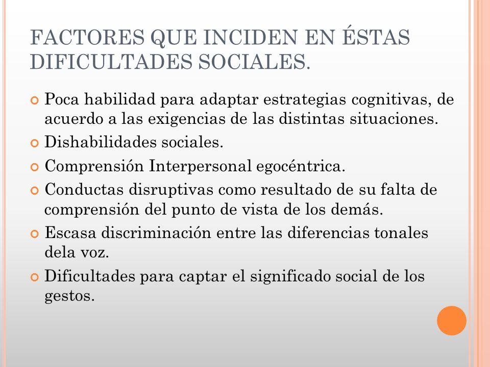 FACTORES QUE INCIDEN EN ÉSTAS DIFICULTADES SOCIALES. Poca habilidad para adaptar estrategias cognitivas, de acuerdo a las exigencias de las distintas