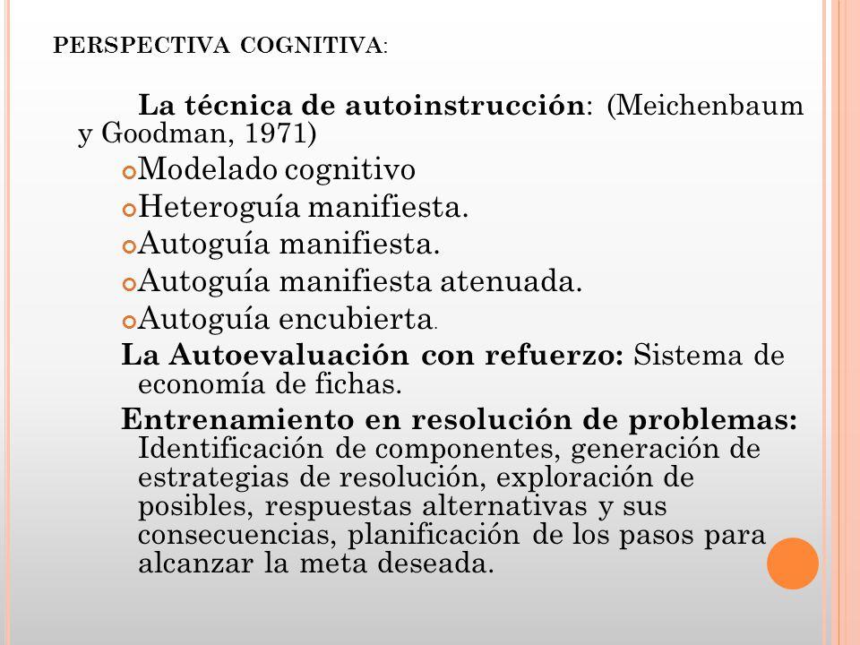 PERSPECTIVA COGNITIVA : La técnica de autoinstrucción : (Meichenbaum y Goodman, 1971) Modelado cognitivo Heteroguía manifiesta. Autoguía manifiesta. A