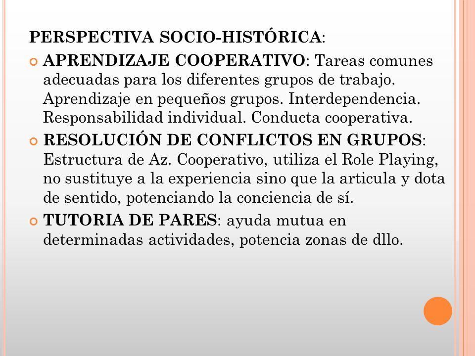 PERSPECTIVA SOCIO-HISTÓRICA : APRENDIZAJE COOPERATIVO : Tareas comunes adecuadas para los diferentes grupos de trabajo. Aprendizaje en pequeños grupos