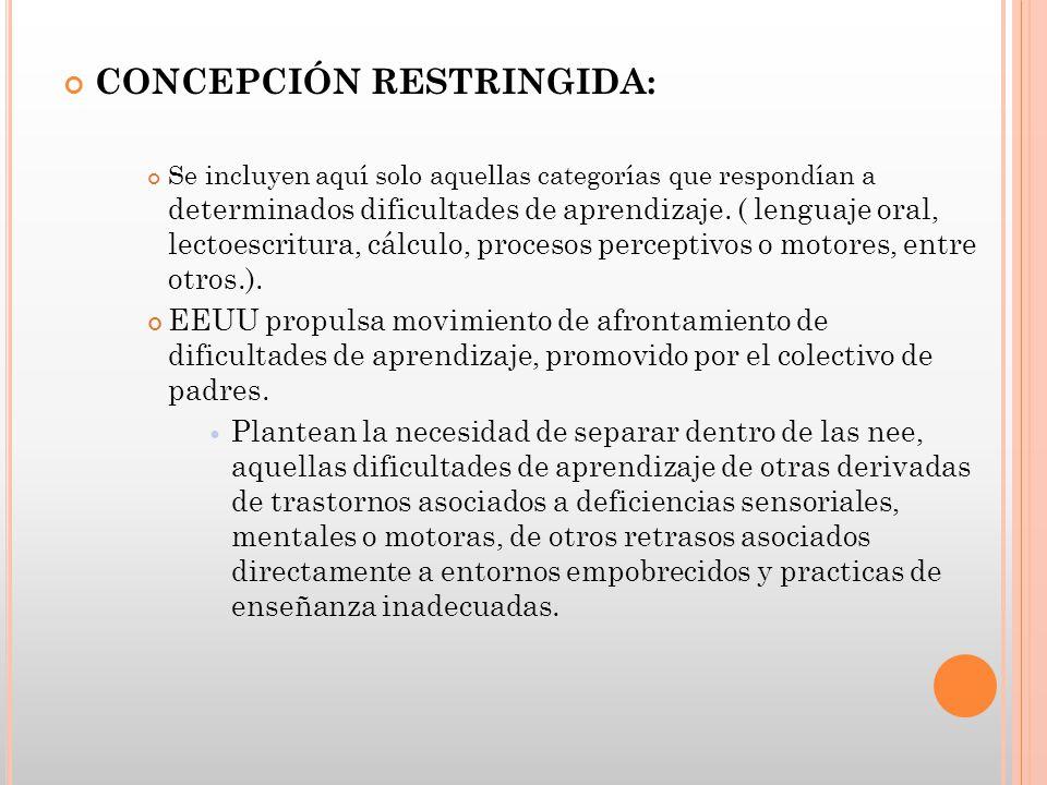 CONCEPCIÓN RESTRINGIDA: Se incluyen aquí solo aquellas categorías que respondían a determinados dificultades de aprendizaje. ( lenguaje oral, lectoesc
