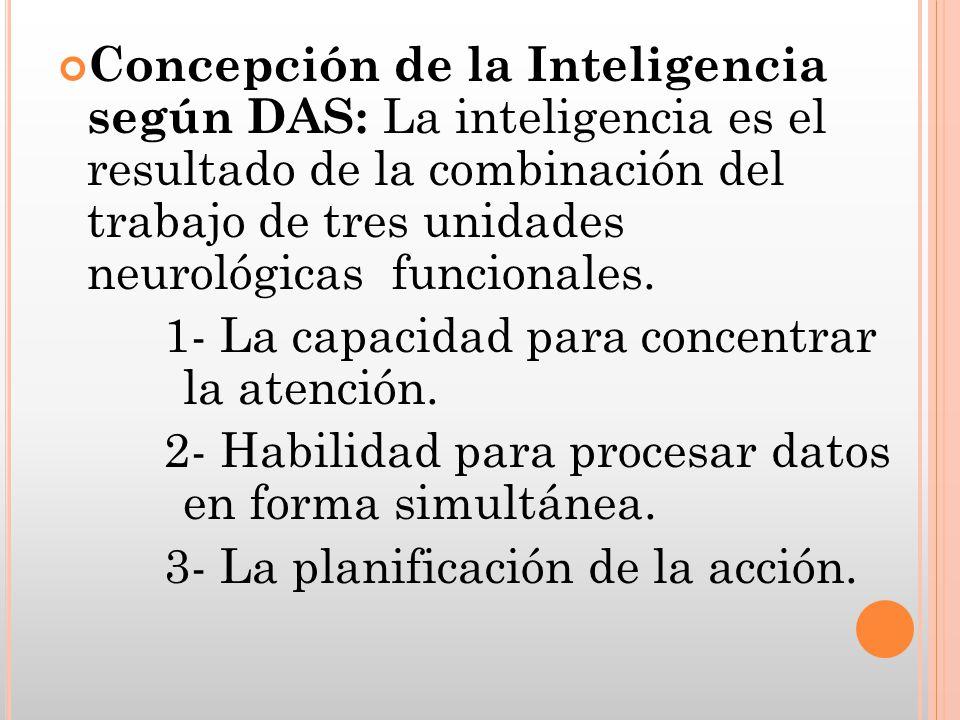 Concepción de la Inteligencia según DAS: La inteligencia es el resultado de la combinación del trabajo de tres unidades neurológicas funcionales. 1- L