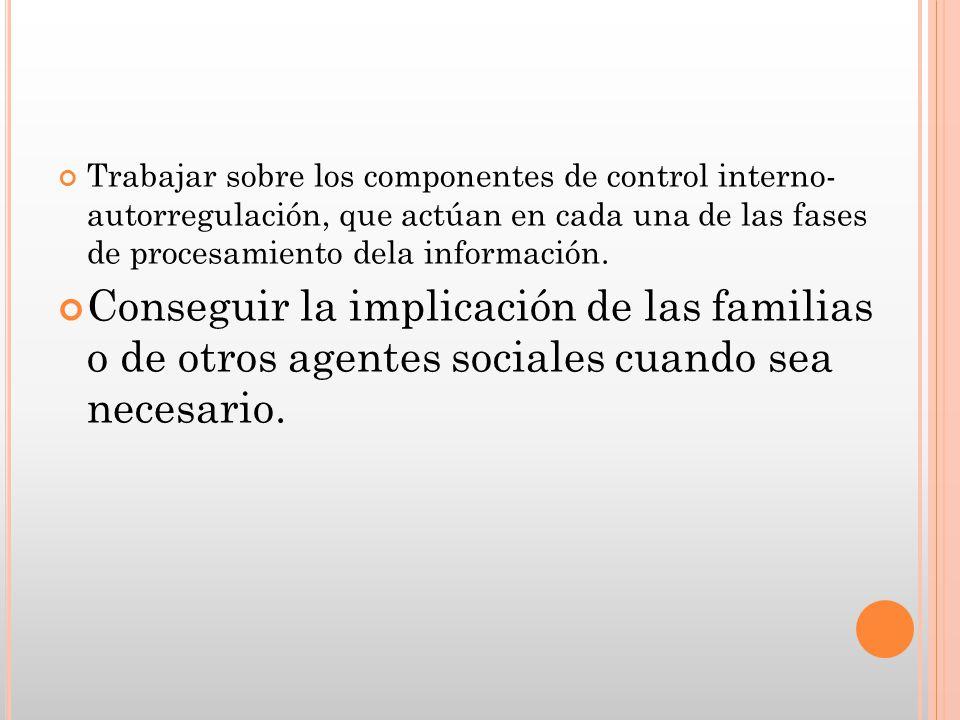 Trabajar sobre los componentes de control interno- autorregulación, que actúan en cada una de las fases de procesamiento dela información. Conseguir l