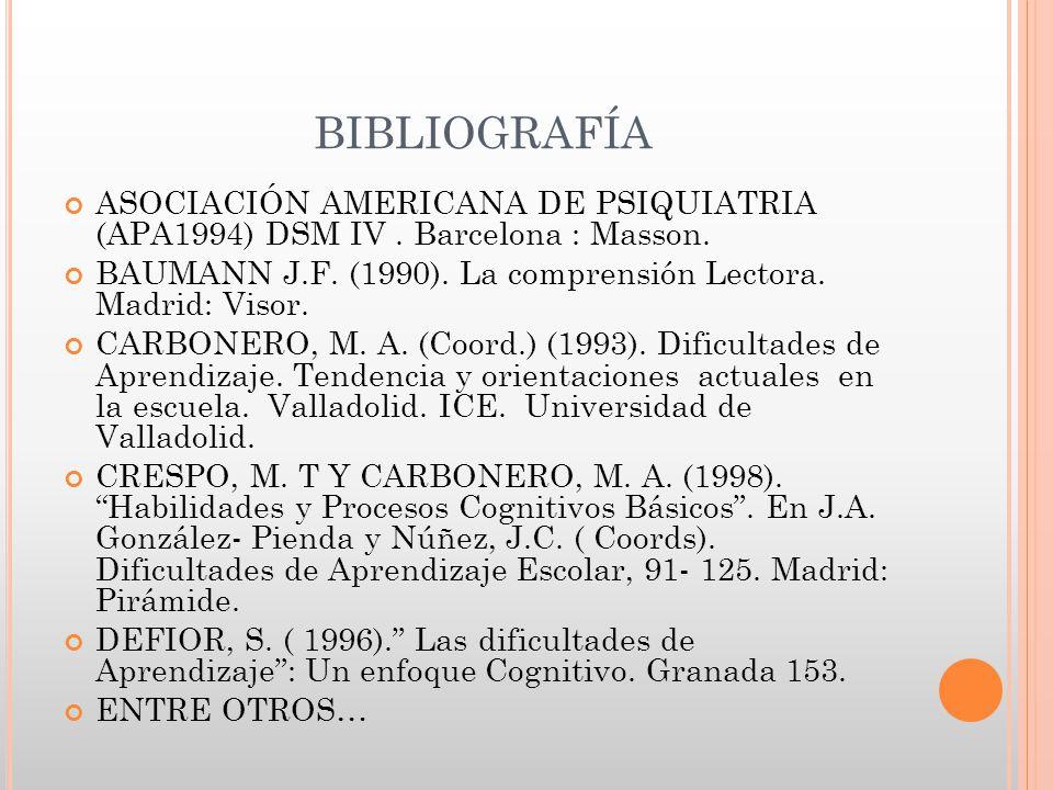 BIBLIOGRAFÍA ASOCIACIÓN AMERICANA DE PSIQUIATRIA (APA1994) DSM IV. Barcelona : Masson. BAUMANN J.F. (1990). La comprensión Lectora. Madrid: Visor. CAR