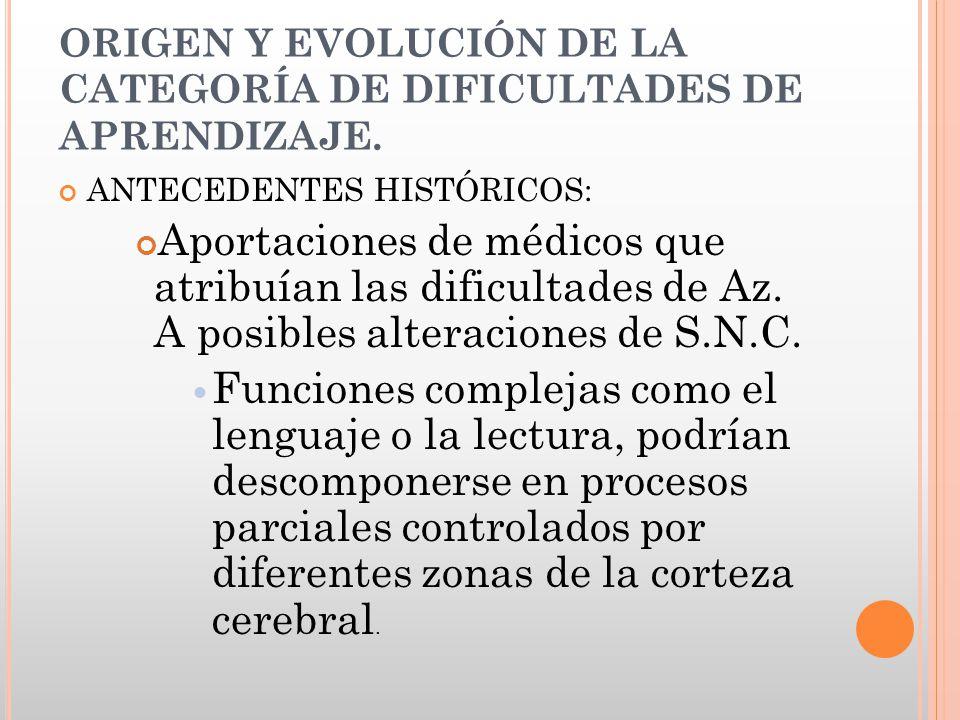 ORIGEN Y EVOLUCIÓN DE LA CATEGORÍA DE DIFICULTADES DE APRENDIZAJE. ANTECEDENTES HISTÓRICOS: Aportaciones de médicos que atribuían las dificultades de