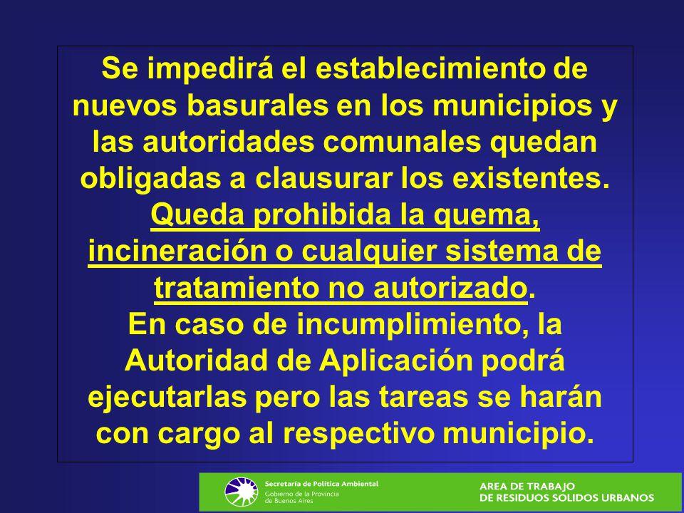 Se impedirá el establecimiento de nuevos basurales en los municipios y las autoridades comunales quedan obligadas a clausurar los existentes. Queda pr