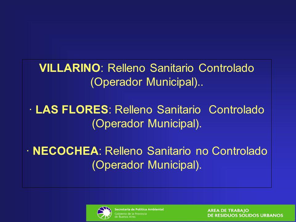 VILLARINO: Relleno Sanitario Controlado (Operador Municipal).. · LAS FLORES: Relleno Sanitario Controlado (Operador Municipal). · NECOCHEA: Relleno Sa
