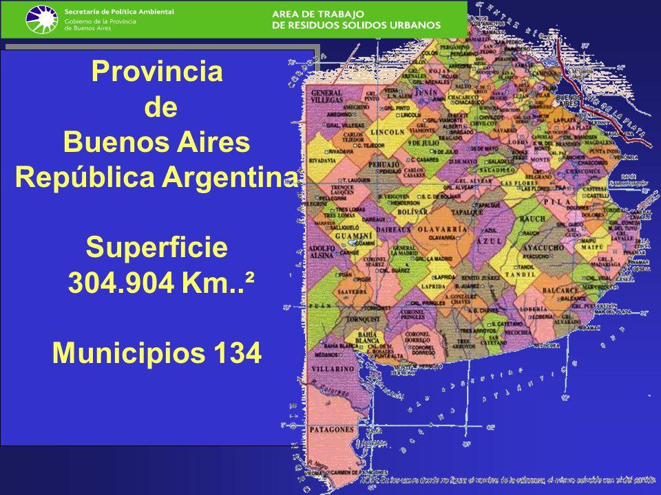 Provincia de Buenos Aires República Argentina Superficie 304.904 Km..² Municipios 134