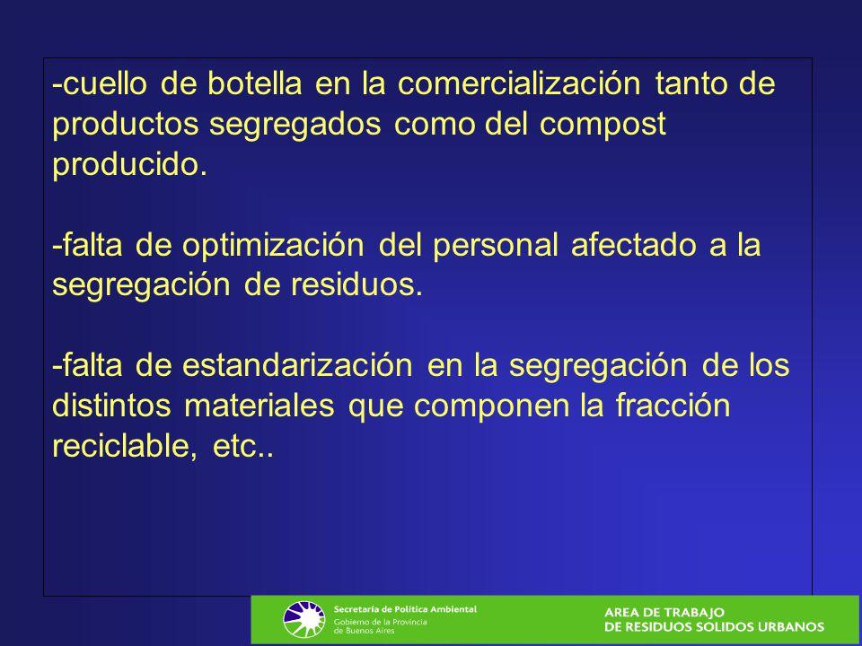-cuello de botella en la comercialización tanto de productos segregados como del compost producido. -falta de optimización del personal afectado a la