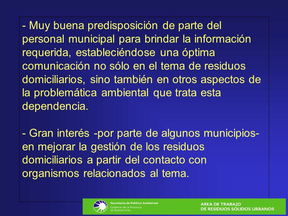 - Muy buena predisposición de parte del personal municipal para brindar la información requerida, estableciéndose una óptima comunicación no sólo en e