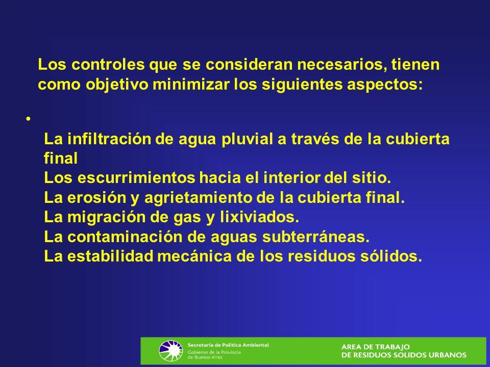 Los controles que se consideran necesarios, tienen como objetivo minimizar los siguientes aspectos: La infiltración de agua pluvial a través de la cub
