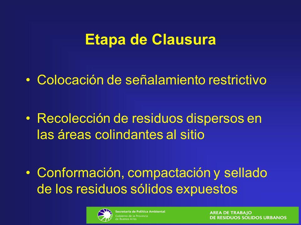 Etapa de Clausura Colocación de señalamiento restrictivo Recolección de residuos dispersos en las áreas colindantes al sitio Conformación, compactació