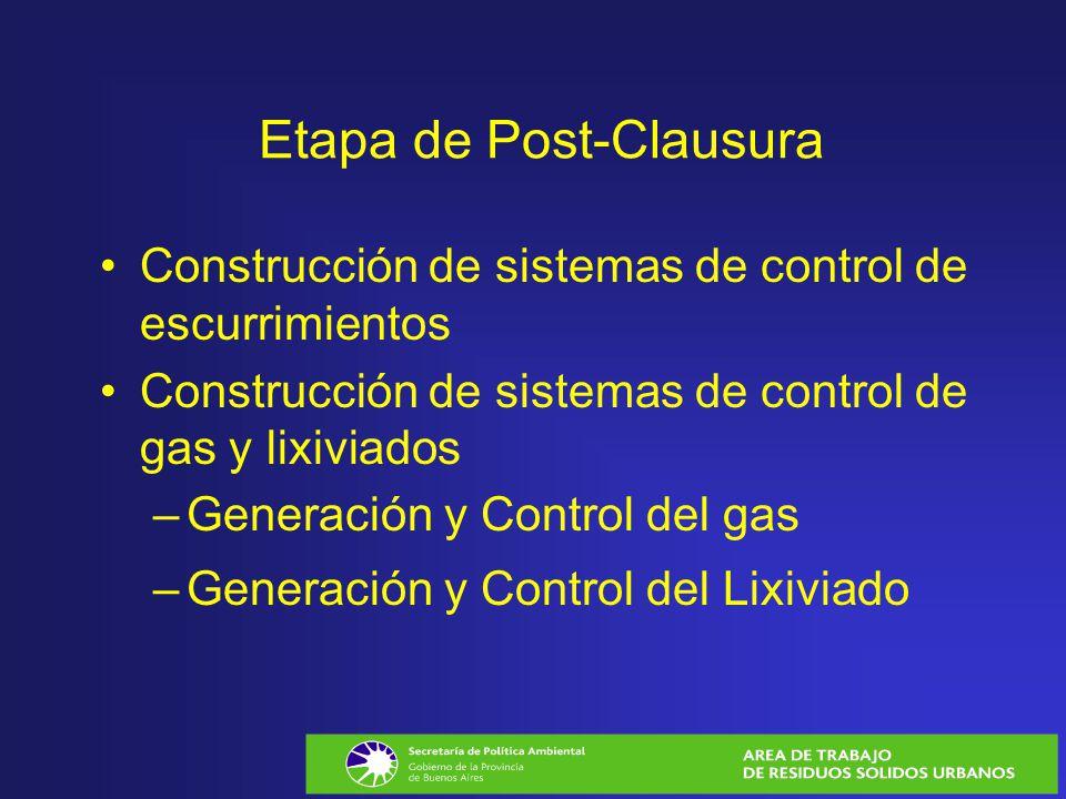 Etapa de Post-Clausura Construcción de sistemas de control de escurrimientos Construcción de sistemas de control de gas y lixiviados –Generación y Con
