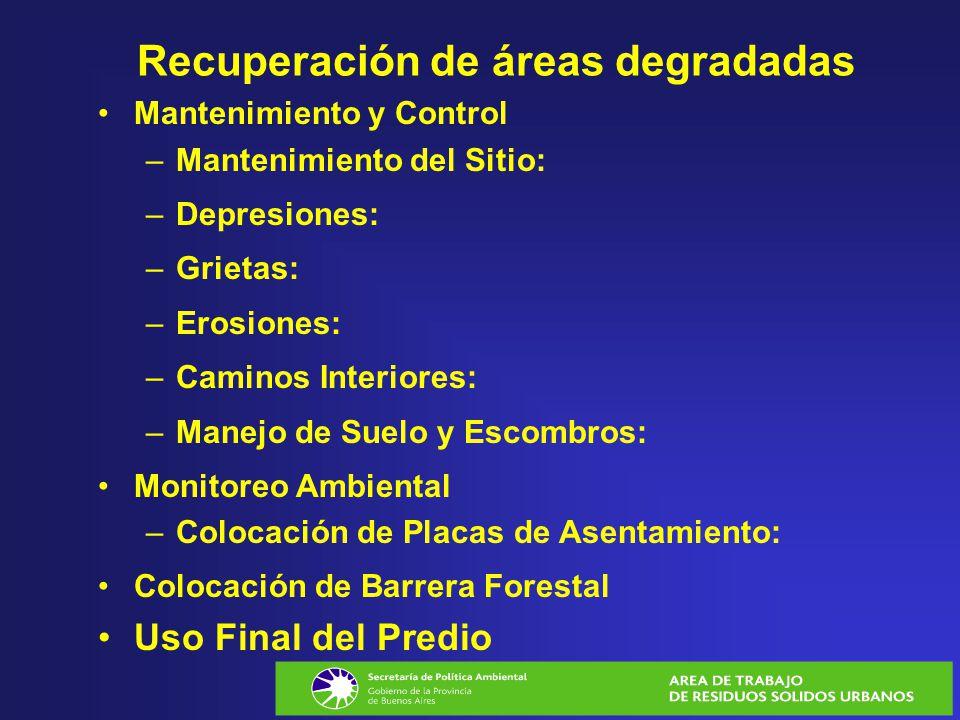 Recuperación de áreas degradadas Mantenimiento y Control –Mantenimiento del Sitio: –Depresiones: –Grietas: –Erosiones: –Caminos Interiores: –Manejo de