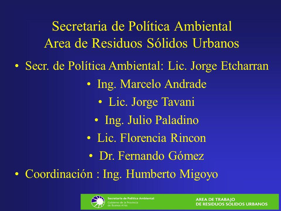 Secretaria de Política Ambiental Area de Residuos Sólidos Urbanos Secr. de Política Ambiental: Lic. Jorge Etcharran Ing. Marcelo Andrade Lic. Jorge Ta