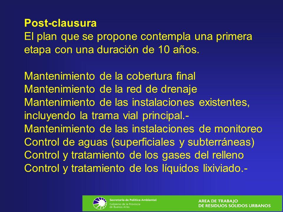 Post-clausura El plan que se propone contempla una primera etapa con una duración de 10 años. Mantenimiento de la cobertura final Mantenimiento de la