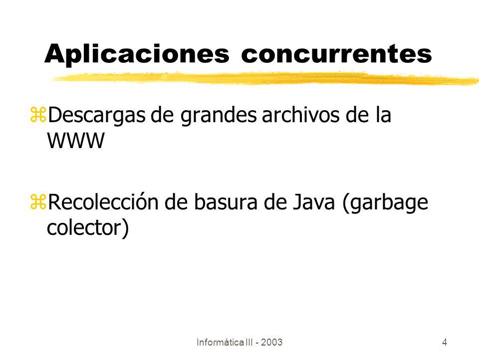 Informática III - 20034 Aplicaciones concurrentes zDescargas de grandes archivos de la WWW zRecolección de basura de Java (garbage colector)