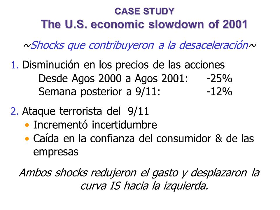 CASE STUDY The U.S. economic slowdown of 2001 ~Que ocurrió~ 1. Tasa de crecimiento del PBI Real 1994-2000: 3.9% (promedio anual) 2001: 1.2% 2. Tasa de