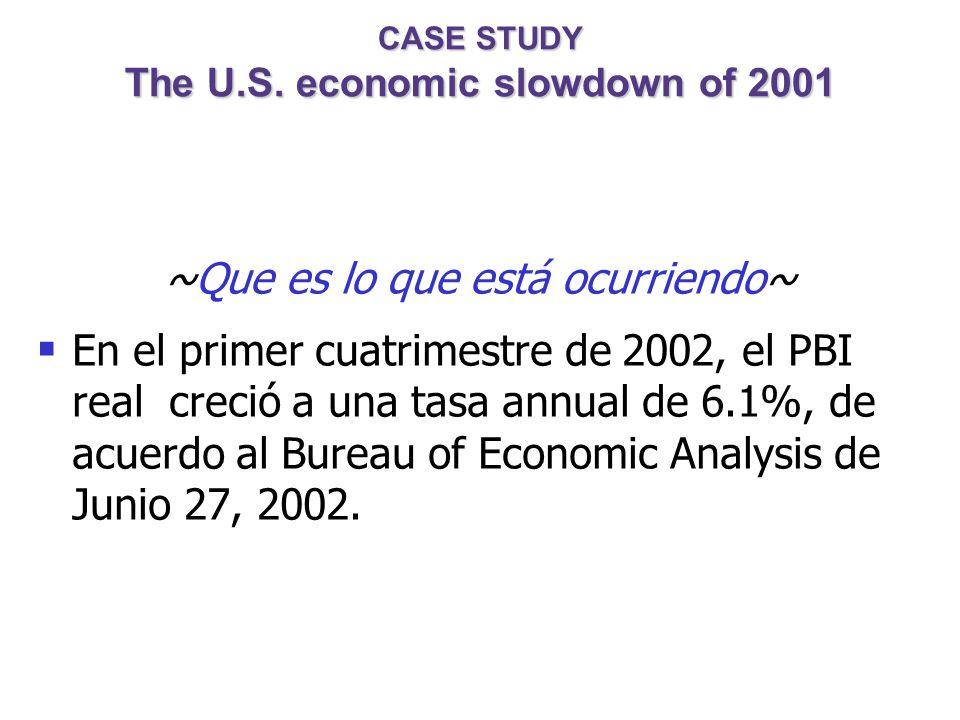 CASE STUDY The U.S. economic slowdown of 2001 ~Políticas llevadas a cabo~ 1. Política Fiscal Recorte en los impuestos Se incrementa el gasto: ayuda pa