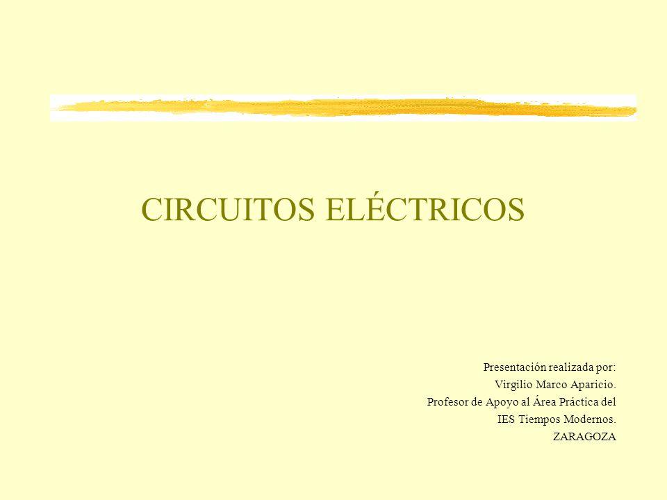 CIRCUITOS ELÉCTRICOS Presentación realizada por: Virgilio Marco Aparicio. Profesor de Apoyo al Área Práctica del IES Tiempos Modernos. ZARAGOZA