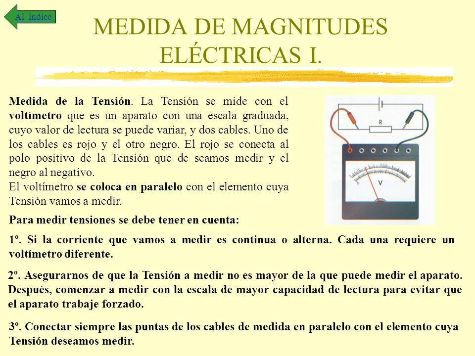 MEDIDA DE MAGNITUDES ELÉCTRICAS I. Al índice Medida de la Tensión. La Tensión se mide con el voltímetro que es un aparato con una escala graduada, cuy