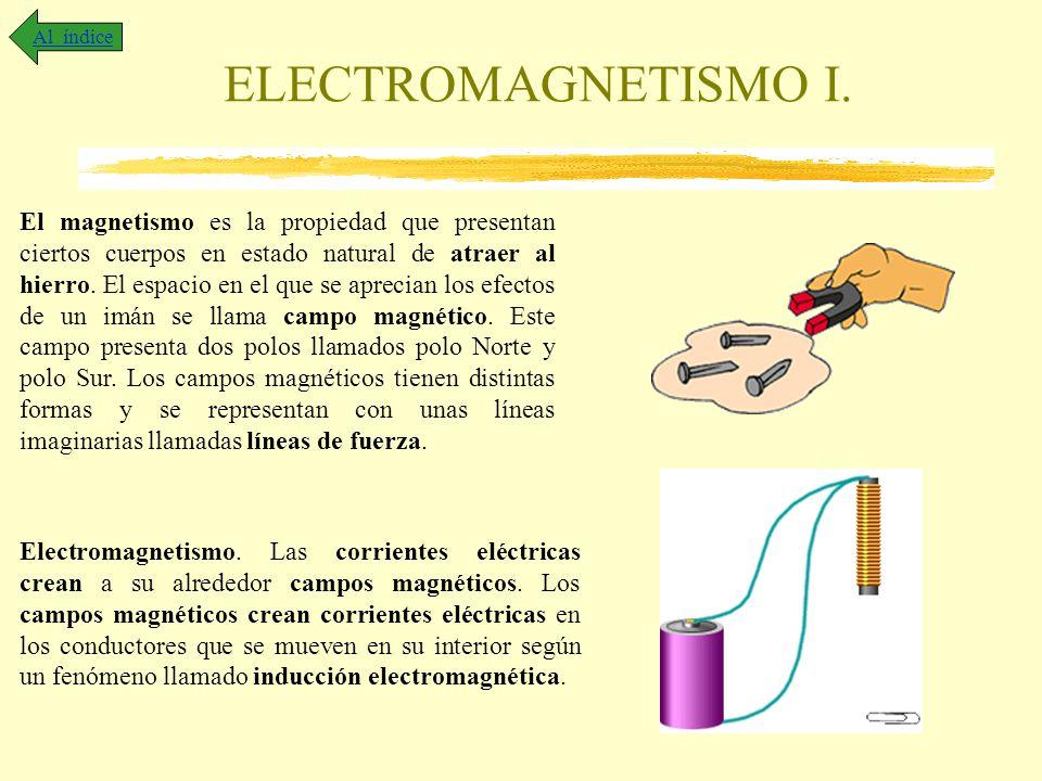ELECTROMAGNETISMO I. Al índice El magnetismo es la propiedad que presentan ciertos cuerpos en estado natural de atraer al hierro. El espacio en el que