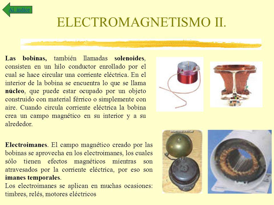ELECTROMAGNETISMO II. Al índice Las bobinas, también llamadas solenoides, consisten en un hilo conductor enrollado por el cual se hace circular una co