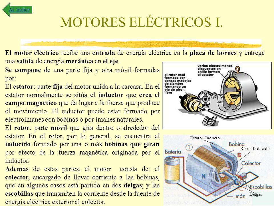 MOTORES ELÉCTRICOS I. Al índice El motor eléctrico recibe una entrada de energía eléctrica en la placa de bornes y entrega una salida de energía mecán