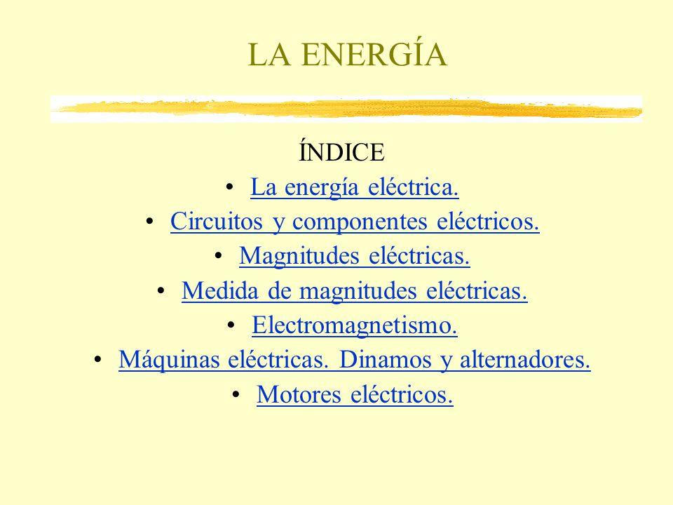 LA ENERGÍA ÍNDICE La energía eléctrica. Circuitos y componentes eléctricos. Magnitudes eléctricas. Medida de magnitudes eléctricas. Electromagnetismo.