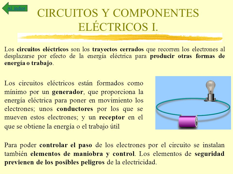 CIRCUITOS Y COMPONENTES ELÉCTRICOS I. Los circuitos eléctricos son los trayectos cerrados que recorren los electrones al desplazarse por efecto de la