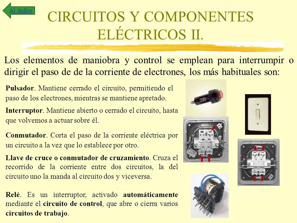 CIRCUITOS Y COMPONENTES ELÉCTRICOS II. Al índice Los elementos de maniobra y control se emplean para interrumpir o dirigir el paso de de la corriente