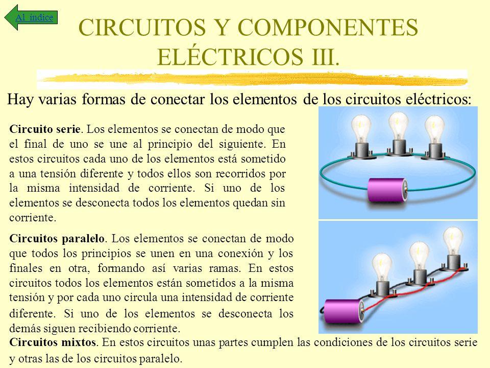 CIRCUITOS Y COMPONENTES ELÉCTRICOS III. Al índice Hay varias formas de conectar los elementos de los circuitos eléctricos: Circuito serie. Los element
