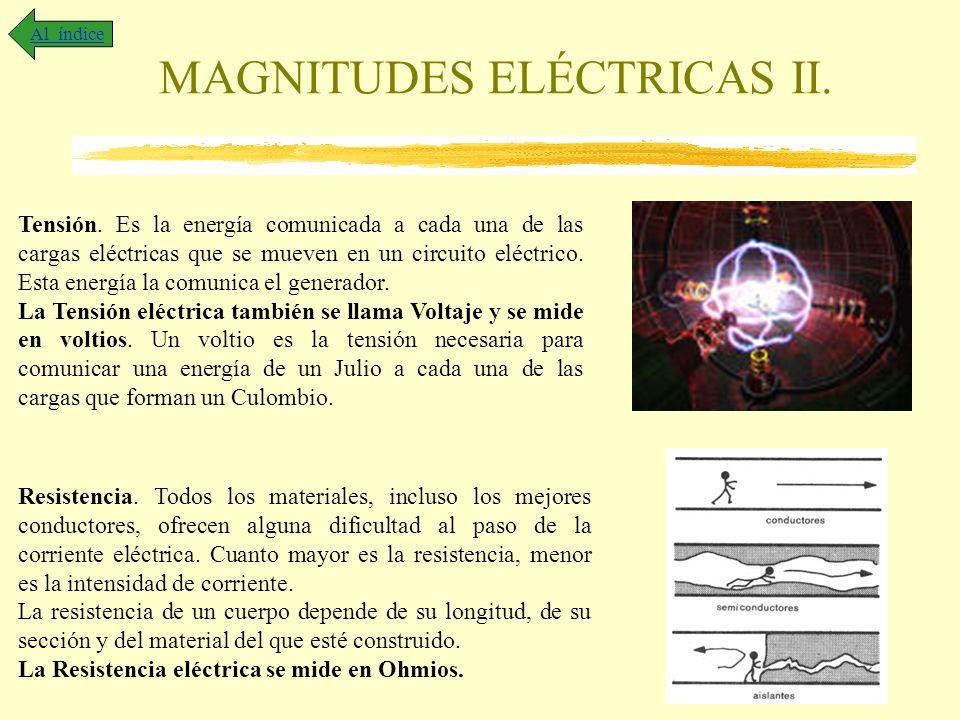 MAGNITUDES ELÉCTRICAS II. Al índice Tensión. Es la energía comunicada a cada una de las cargas eléctricas que se mueven en un circuito eléctrico. Esta