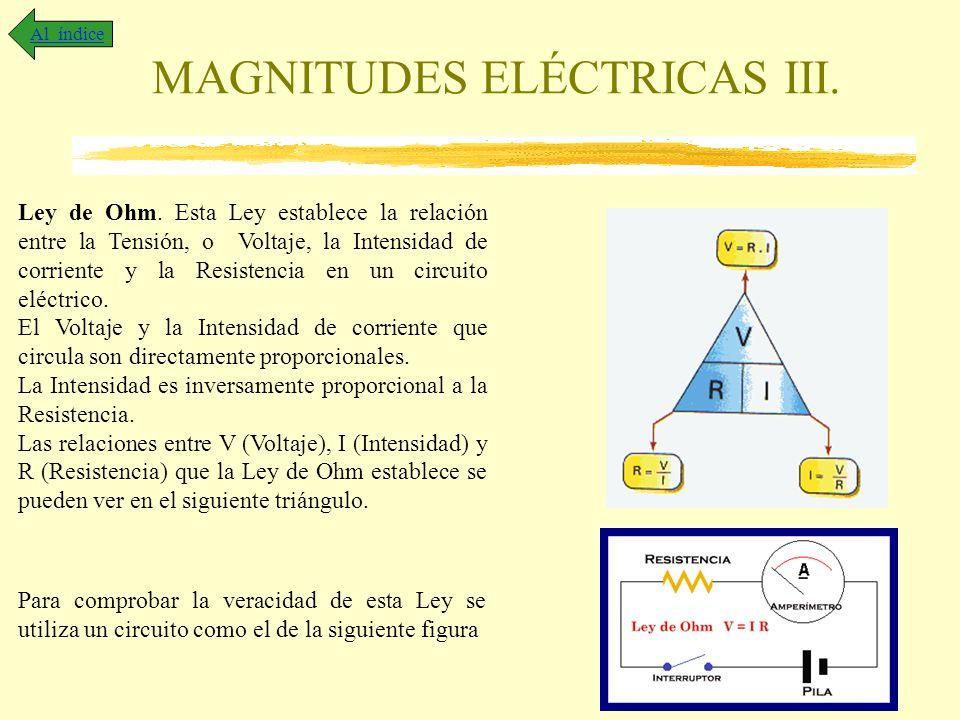 MAGNITUDES ELÉCTRICAS III. Al índice Ley de Ohm. Esta Ley establece la relación entre la Tensión, o Voltaje, la Intensidad de corriente y la Resistenc