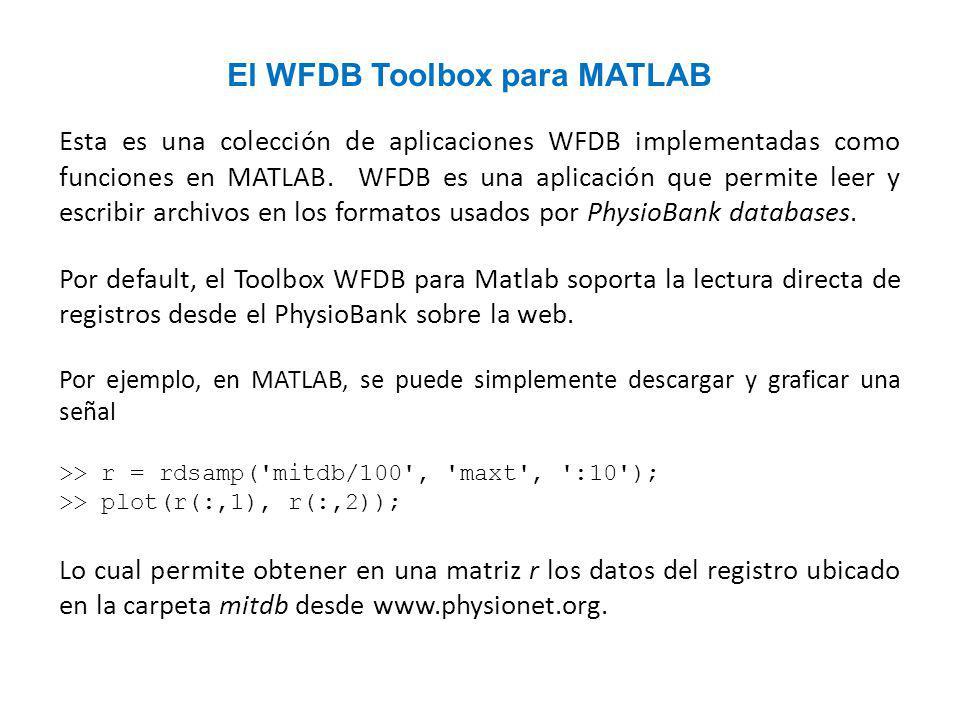 Esta es una colección de aplicaciones WFDB implementadas como funciones en MATLAB.