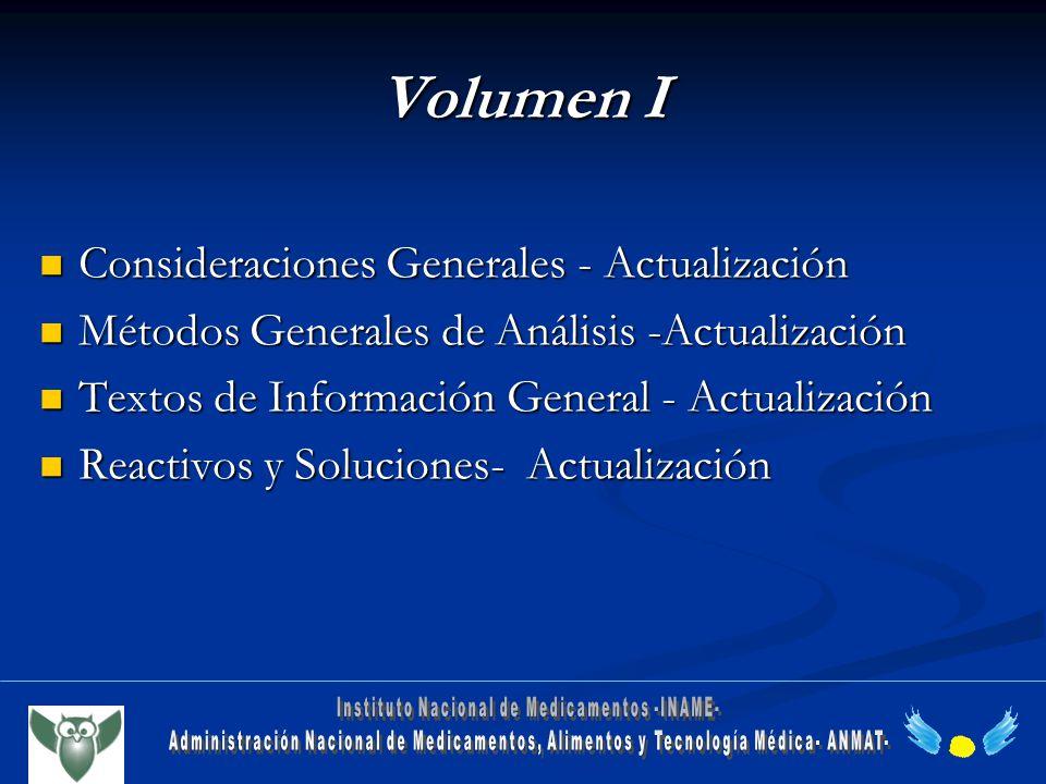 Volumen I Consideraciones Generales - Actualización Consideraciones Generales - Actualización Métodos Generales de Análisis -Actualización Métodos Gen