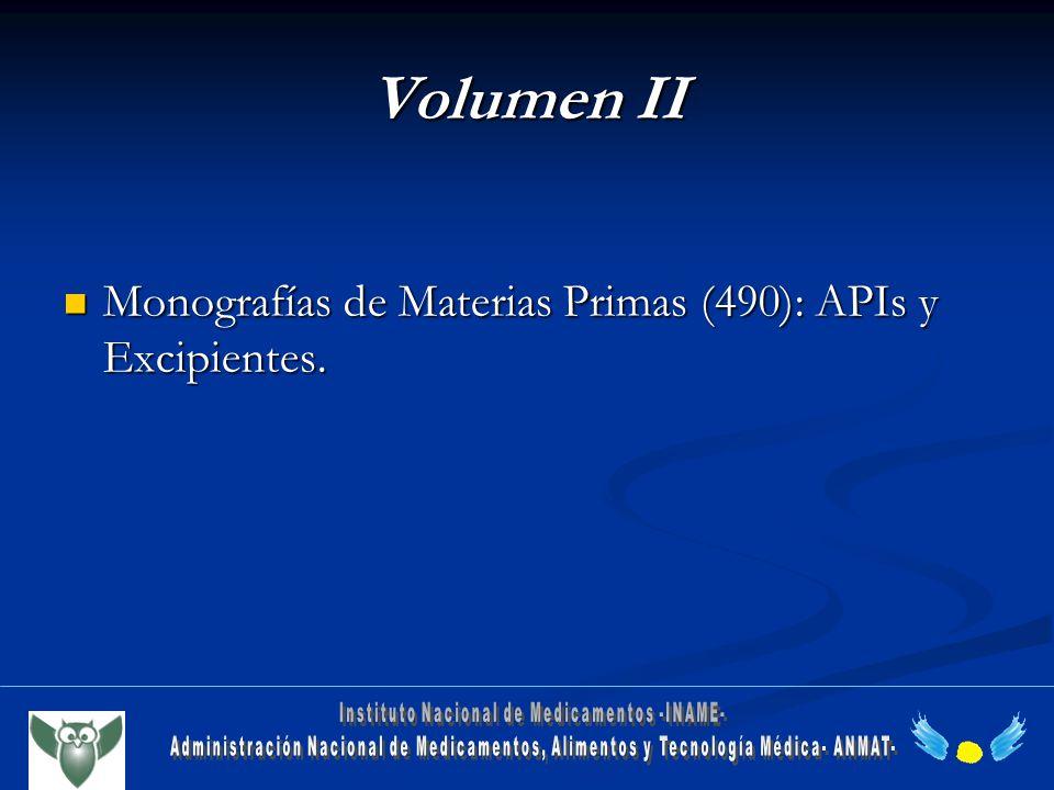Volumen II Monografías de Materias Primas (490): APIs y Excipientes. Monografías de Materias Primas (490): APIs y Excipientes.