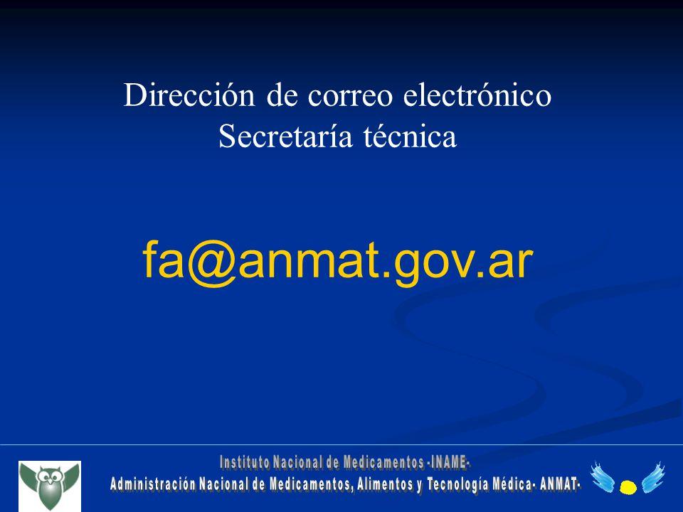 Dirección de correo electrónico Secretaría técnica fa@anmat.gov.ar