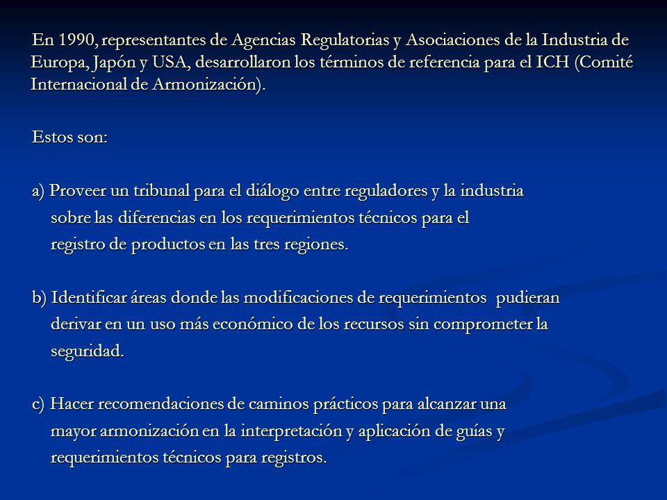 En 1990, representantes de Agencias Regulatorias y Asociaciones de la Industria de Europa, Japón y USA, desarrollaron los términos de referencia para
