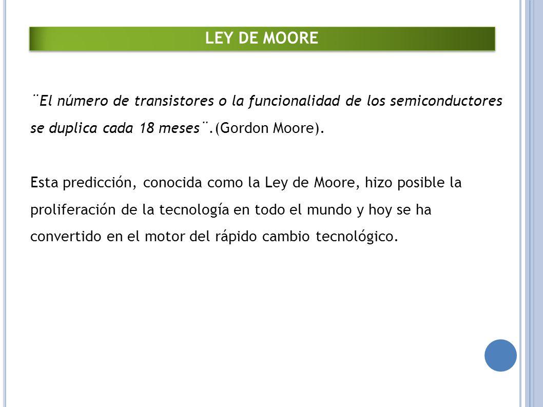LEY DE MOORE ¨El número de transistores o la funcionalidad de los semiconductores se duplica cada 18 meses¨.(Gordon Moore).